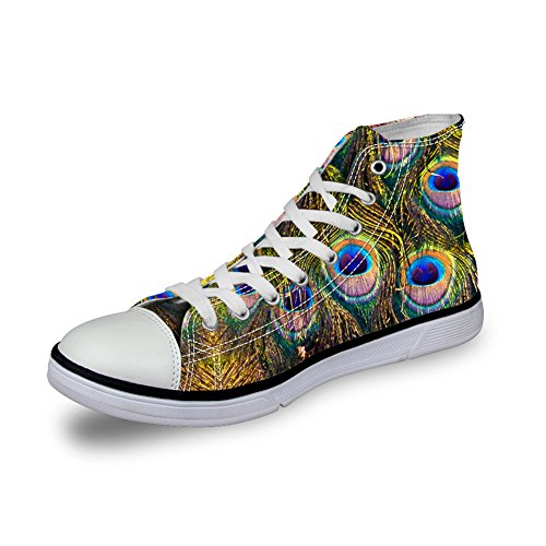 U DESIGNS Sneakers Shoes High Feather FOR Top Peacock Womens Prints Feather 8 Canvas Lightweight Peacock dfq5Pw