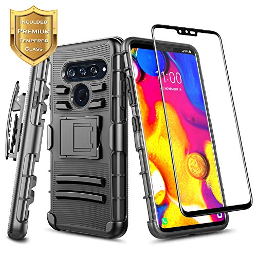 LG V40 ThinQ Case w/[Full Coverage Tempered Glass Screen Protector] NageBee Belt Clip Holster [Heavy Duty] Armor Shock Proof [Kickstand] Rugged Combo Case Compatible with LG V40 ThinQ -Black
