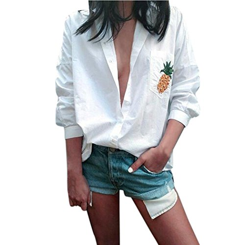 Women Long Sleeve T Shirt,Napoo Pineapple Pockets Print Turn-down Collar Shirts Cotton Loose Button Blouse (L, white)