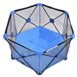 Blue Baby Play Pen Playard Portable Folding Outdoor Indoor Safety Free Standing + FREE E - Book