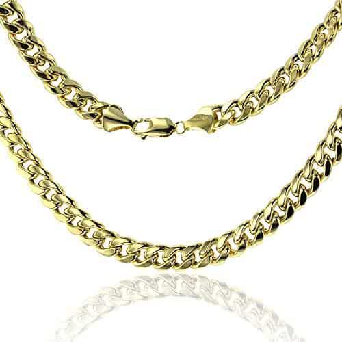 14K Yellow Gold 9.00mm 250 Hollow Miami Cuban Link Chain