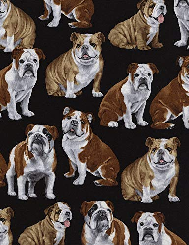 Timeless Treasures English Bulldogs On Black Cotton Fabric