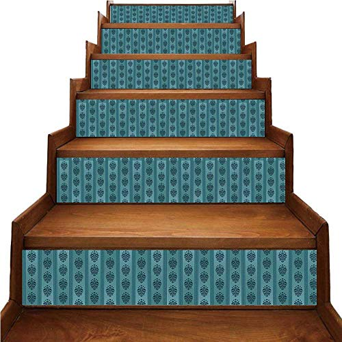 - Damask Nice Stairs Sticker,Medieval Gothic Rococo Art Motifs on Vertical Stripes Ancient Cultures Inspiration Decorative for Home,39.3