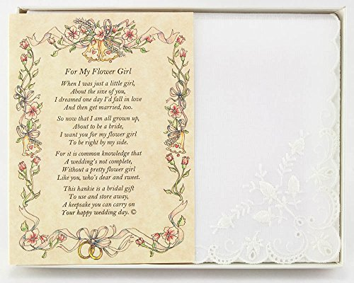 Wedding Handkerchief Poetry Hankie (for Bride's Flower Girl) White, Lace Embroidered Bridal Keepsake, Beautiful Poem | Long-Lasting Memento for The Bride's Flowergirl | Includes Gift Storage Box