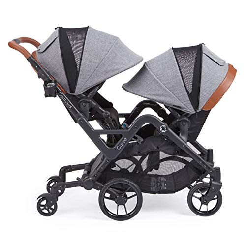 Contours Curve Tandem Double Stroller for Infant and Toddler - 360° Turning and Easy Handling Over Curbs, Multiple Seating Options, UPF50+ Canopies (Graphite Gray) -