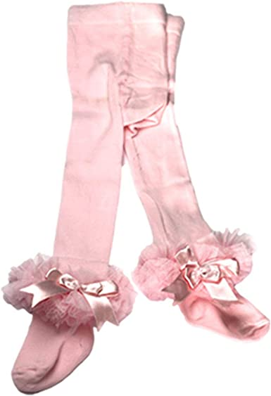 Girls baby tutu tights Spanish style UK designer frilly kids tights with satin bow 0-3y Soft premium quality.