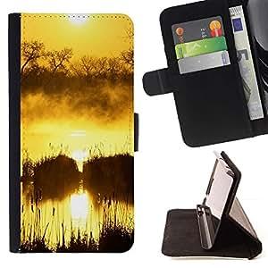 For Apple (4.7 inches!!!) iPhone 6 / 6S Case , Sunset Beautiful Nature 50- la tarjeta de Crédito Slots PU Funda de cuero Monedero caso cubierta de piel
