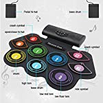 Anpro Electronic Drum Set Foldable Built-in Speaker,9 Pads Stereo Electronic Drum Kit with MIDI Portable Roll up Drum…