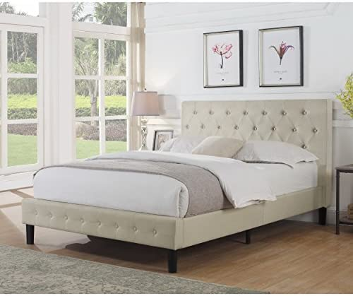 Rosevera Home Alfonso Diamond Tufted Upholstered Platform Bed