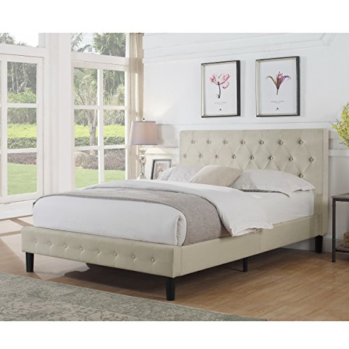 Rosevera B3-1T (1-B) Alfonso Diamond Upholstered Platform Bed, Twin, Beige