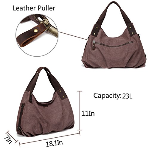 Large Bag Handbag Shoulder Handle Detachable with Canvas Leather Tote Women Vintage Canvas Bag Coffee Strap for Hobo VASCHY Top Work 6gwq4BI