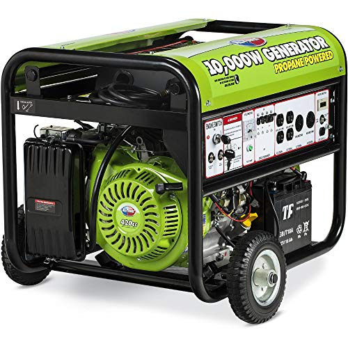 All Power America APG3590CN 10000 Watt Propane Portable Generator w/Electric Start for Home Backup Power, Hurricane Damage Restoration, RV Standby, Green/Black