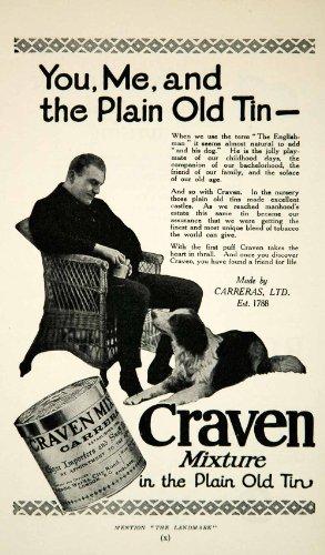 1926 Ad Craven Mixture Plain Old Tin Carreras Animal Dog Tobacco Cigar Snuff - Original Print Ad from PeriodPaper LLC-Collectible Original Print Archive
