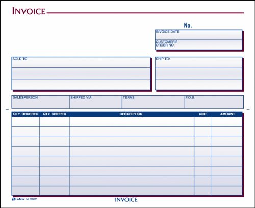 Adams Invoice Unit Set, 8.5 x 7.44 Inch, 2-Part, Carbonless, 100-Pack, White and Canary ()