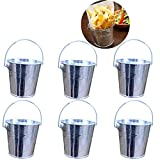 Trycooling Set of 6 Mini Metal Bucket with Handle Party Favors Icing French Fries Tin Pails Succulent Plant Containers