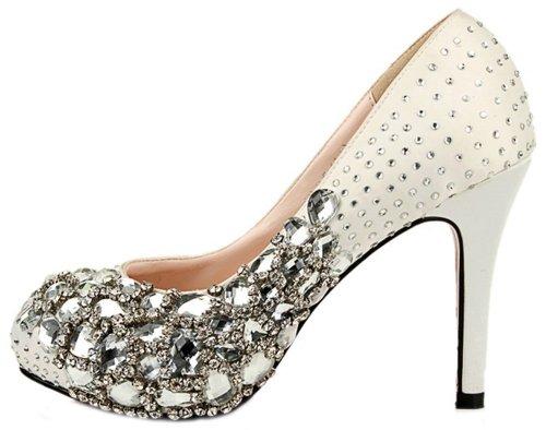 Honeystore Mujeres Diamonds Y Rhinestone Satin Pumps Blanco