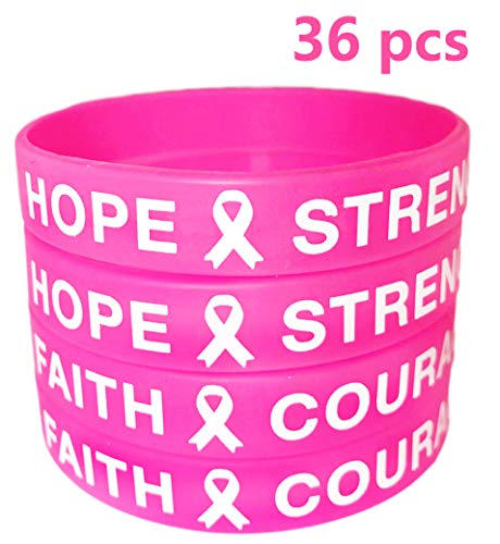 - AISENO Breast Cancer Awareness Pink Ribbon Bracelets Rubber Wristbands, 36 Pieces Unisex