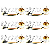 QWinOut A2212 1000KV Brushless Outrunner Motor 13T with 3.5mm Male Banana Bullet for RC DIY Aircraft Multi-Copter Quadcopter Drone (6pcs)