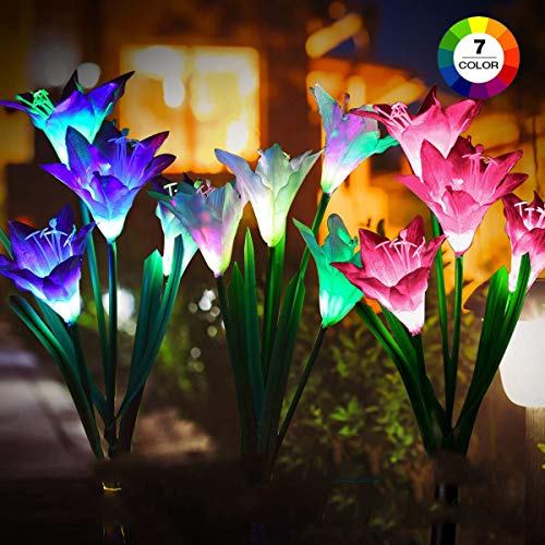GITURKD Solar Flowers Lights - Solar Powered Lights with 12 Lily Flowers and 7 Colors Changing, Waterproof Solar Landscape Lighting Lamp for Garden,Yard Decorations (Set of 3)