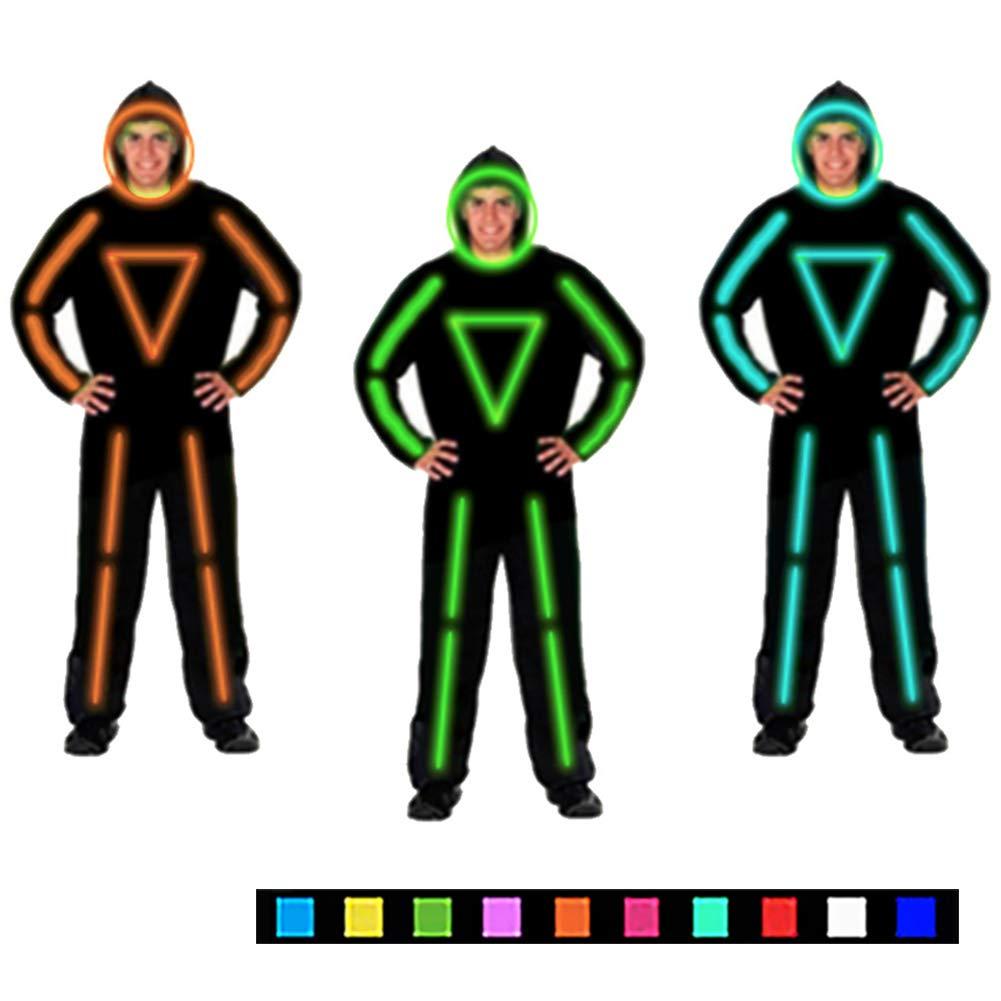 DHTW&R Beleuchtet Strichmännchen Mann Performance-kostüm Glühende Kleidung Fluoreszierender Tanz EL Kaltlicht Nachtshow Kostüm Batteriebetrieben Maskerade Party Kostüm Blau L