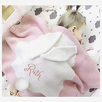 Personalised Unicorn Blanket Minky Fleece Gold Embroidery