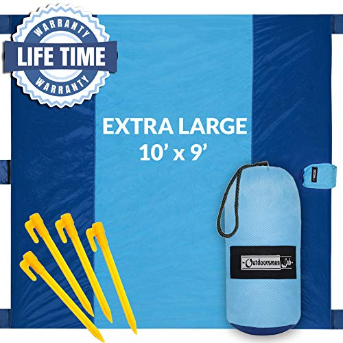 (Outdoorsman Lab Sand Free Beach Blanket | Water Repellant Sand Proof Beach Mat | 10'x9' Parachute Nylon for Picnics, Camping, Concerts | 6 Sand Pockets, 4 Pegs, Carrying Bag & Strap)