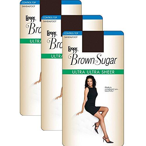 (L'eggs Women`s Set of 3 L`eggs Brown Sugar Ultra Sheer Control Top Pantyhose XL, Coffee)