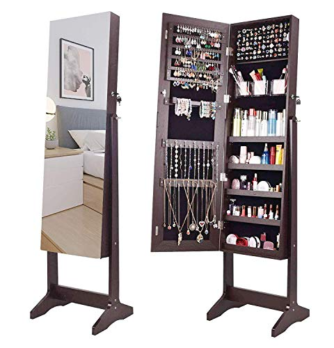 - AOOU Jewelry Organizer Jewelry Armoire,Full Length Mirror Lockable Jewelry Cabinet, with Large Storage Capacity, 3 Angles Adjustable, Brown