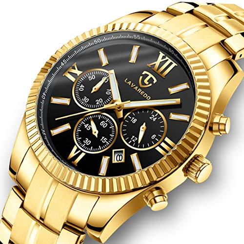 Watch, Men Watches, Luxury Business Classic Gold Stainless Steel Waterproof Luminous Chronograph Date Dress Quartz Analog Wrist Watch