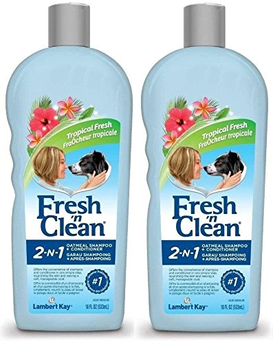 Fresh'n Clean 2 Pack of Tropical Fresh 2-in-1 Oatmeal Shampoo Plus Conditioner Pet Shampoo, 18-Ounces Per Bottle (Shampoo Bottle Oz 18)