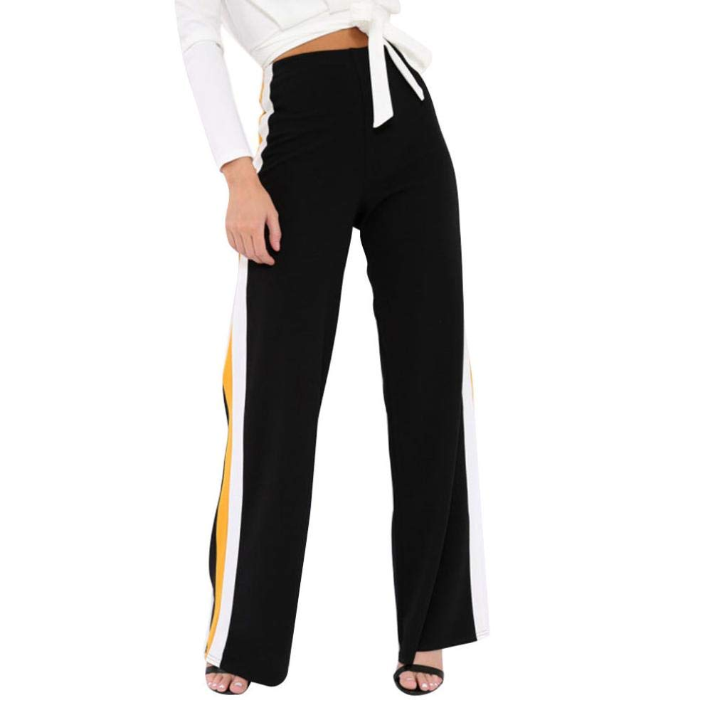 Spbamboo Womens Side Striped High Waist Wide Leg Yoga Casual Pants Long Trousers