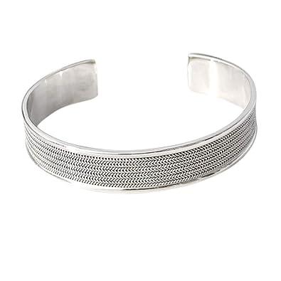 ca8dc03224d TreasureBay Stunning 14mm Solid 925 Silver Open Cuff Bangle Bracelet for  Men or Women: Amazon.co.uk: Jewellery