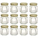 Hexagon Glass Jars, Mini Hex Jars 1.5 Oz - Case of 12