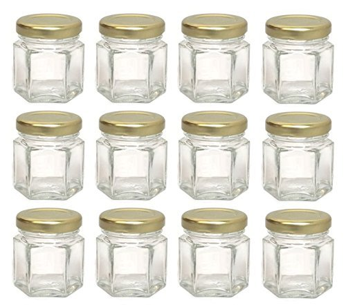 Hexagon Glass Jars, Mini Hex Jars 1.5 Oz - Case of 12 -