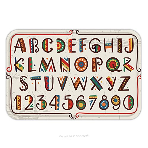Primitive Font (Flannel Microfiber Non-slip Rubber Backing Soft Absorbent Doormat Mat Rug Carpet African Ethnic Bright Vector Alphabet Hand Drawn Graphic Font Primitive Simple Stylized Design 361180325 for Indoor/Out)