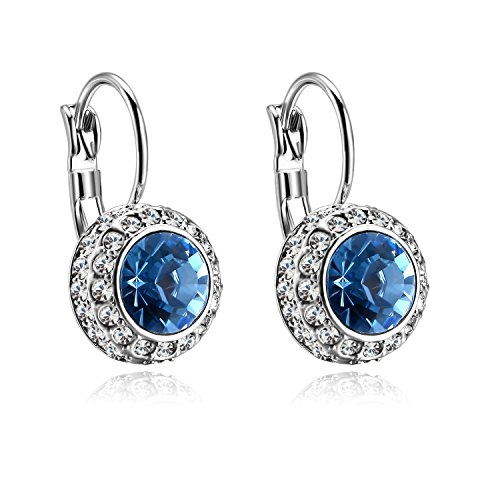 Forcolor White Gold Plated Drop-Dangle Earrings with Blue SWAROVSKI WLEMENTS Crystal
