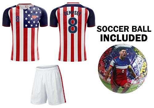 Icon Sports Group Team USA World Cup 2018 United States Youth Soccer Jersey + Shorts + Soccer Ball - PICK ANY NAME (YM 8-10 Years, Boys)