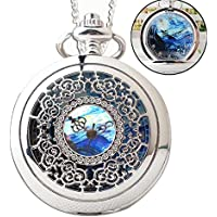MINILUJIA Classic Creative Hollow Van Gogh Painting Starry Night Roman Numeral Dial Alloy Unique Pocket Watch Silver for Women and Men
