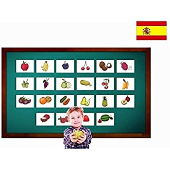 Tarjetas de vocabulario - Fruta - Fruit Flashcards in Spanish - Vocabulary Picture Cards for Language Learning