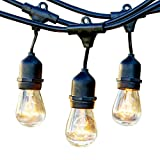 Brightech Ambience Pro Commercial Grade Outdoor Light Strand with Hanging Sockets - 24 Ft Market Cafe Edison Vintage Bistro Weatherproof Strand for Patio Garden Porch Backyard Party Deck Yard – Black