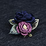 THTHT Woman Brooches Handmade Yard Fabric Flowers Brooches Pin Vintage Leaf Suits Fashion Jewelry Coat Corsage Accessories Blue