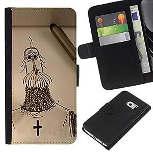 KLONGSHOP // Tirón de la caja Cartera de cuero con ranuras para tarjetas - Caballero Cruz cristianismo Cruzada Arte Dibujo Lápiz - Samsung Galaxy S6 EDGE //