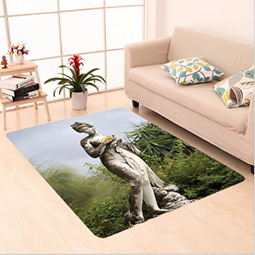 Nalahome Custom carpet Sculptured Figure among Greenery on the Grounds of the Achillion Palace Corfu Island Green Beige area rugs for Living Dining Room Bedroom Hallway Office Carpet (4' X (Ab Sculptured Metals)