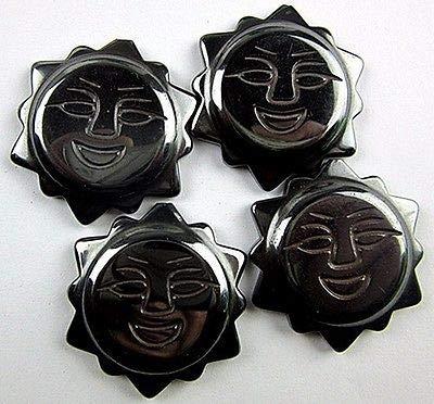 4PCS Beautiful unique black hematite carved sun pendant bead VK1836