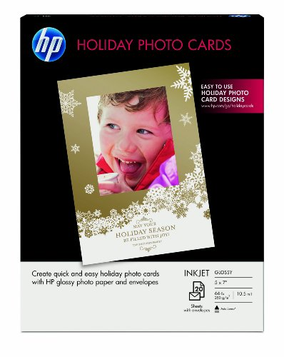 Hewlett Packard Iron - HP Holiday Photo Cards, 5x7, 20 Sheets With Envelopes (SD724A)