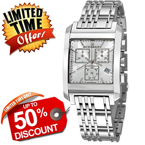 Burberry Heritage LUXURY Mens Unisex Square Stainless Steel Chronograph Watch Engraved Silver Date Dial BU1560