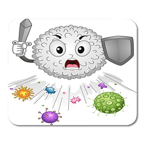 (Boszina Mouse Pads Defense Immune Mascot Featuring White Blood Cell Chasing Antigens Away System Cartoon Mouse Pad for notebooks,Desktop Computers mats 9.5