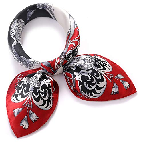 SILIQUE Neckerchiefs For Women Small Scarves, Paisley Small Scarf For Neck, Womens Red Floral Silk Scarf