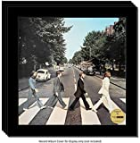 CreativePF [4pk12.5x12.5bk] LP Vinyl Record Frame Display with Glass and Wall Hanger (4-Pack)