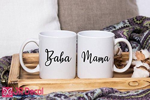 Baba and Mama - printed Islamic Mugs Gifts for Muslim Fathers and Mothers - Personalized Islamic weeding gift, Muslim mugs coffee Mugs Couple Mugs by JR Decal Wall Sticker